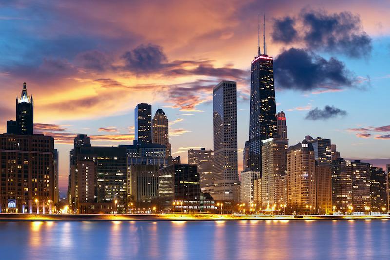 Anoitecer na cidade de Chicago