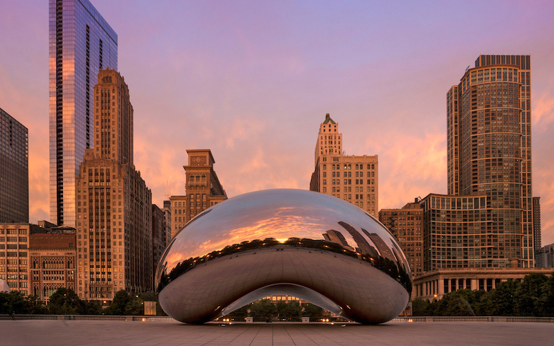 Cloud Gate no Millennium Park em Chicago