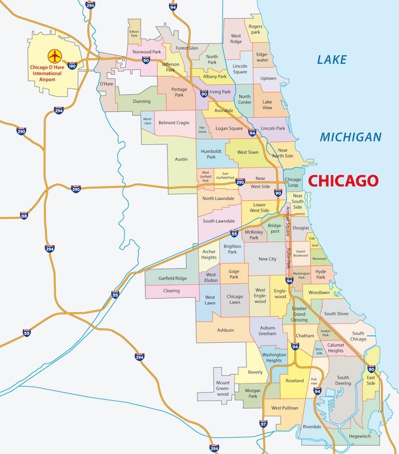 Mapa da cidade de Chicago