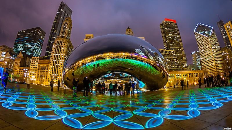 Cloud Gate à noite em Chicago