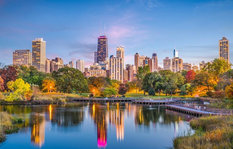 Paisagem do Lincoln Park em Chicago