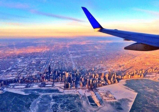 Paisagem do avião na cidade de Chicago