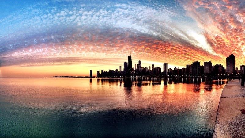 Paisagem do pôr do sol em Chicago