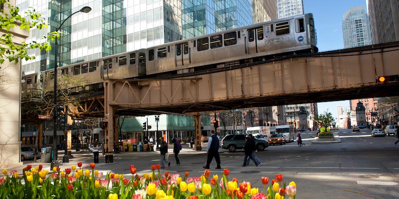 Trilho do trem em Chicago