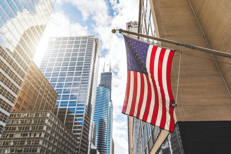 Bandeira dos Estados Unidos em Chicago