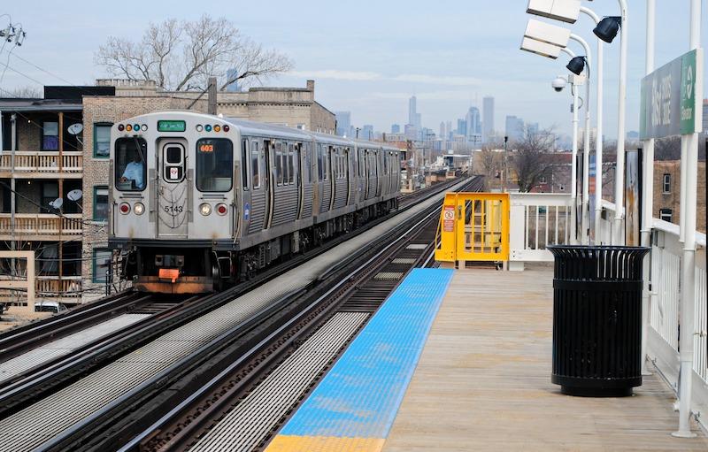Trem e metrô da CTA Train em Chicago