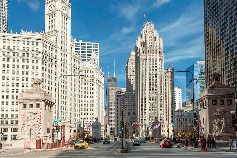 Edifícios em Chicago Riverwalk