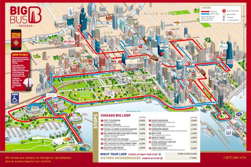 Mapa do passeio de ônibus turístico Big Bus Chicago