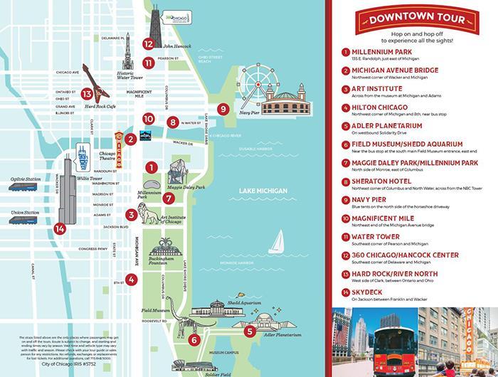 Mapa do passeio de ônibus turístico Chicago Trolley & Double Decker Co.