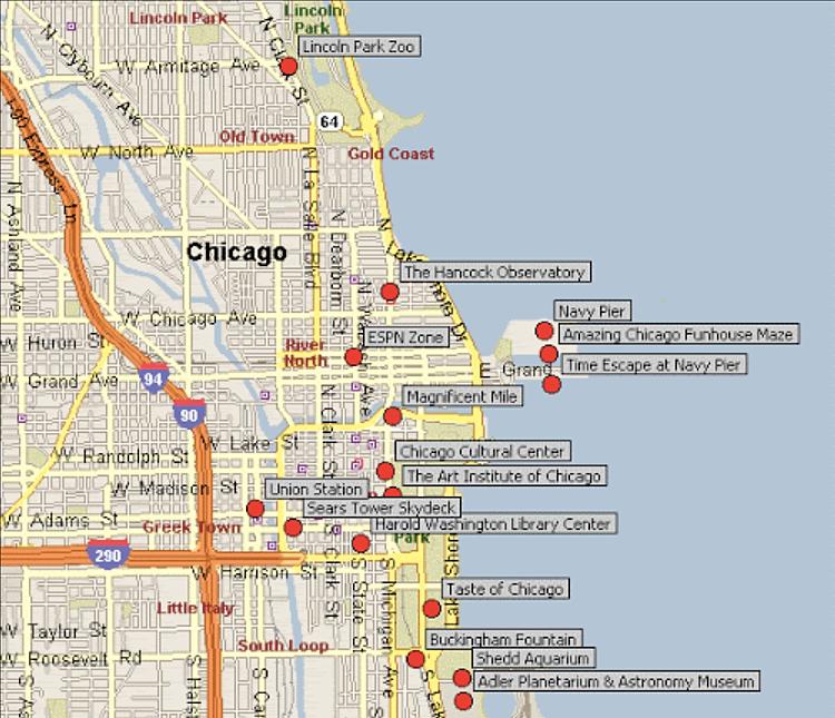 Mapa turístico de Chicago