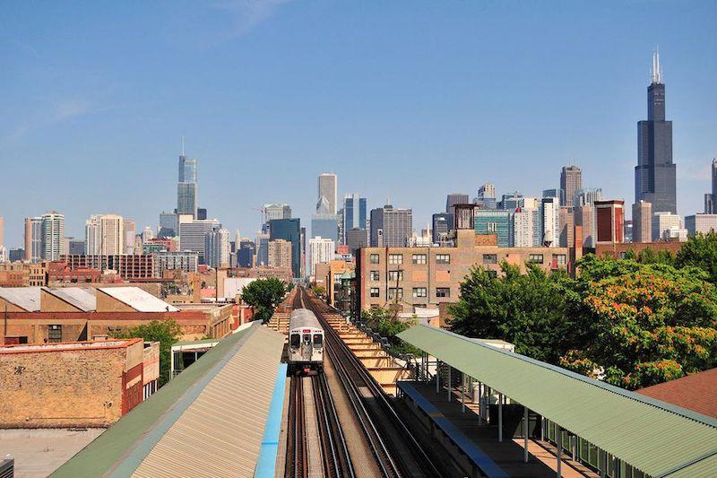 Trem e metrô em Chicago