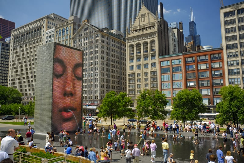 Millennium Park em Chicago: Crown Fountain