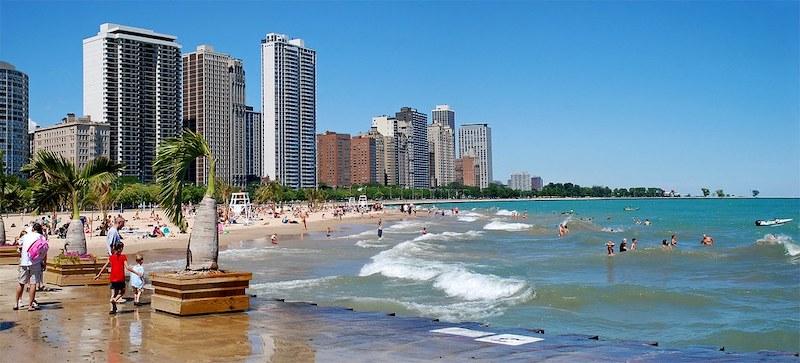 Praia Oak Street Beach em Chicago