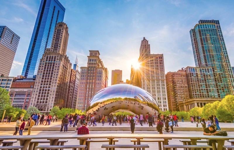 Cloud Gate no verão em Chicago