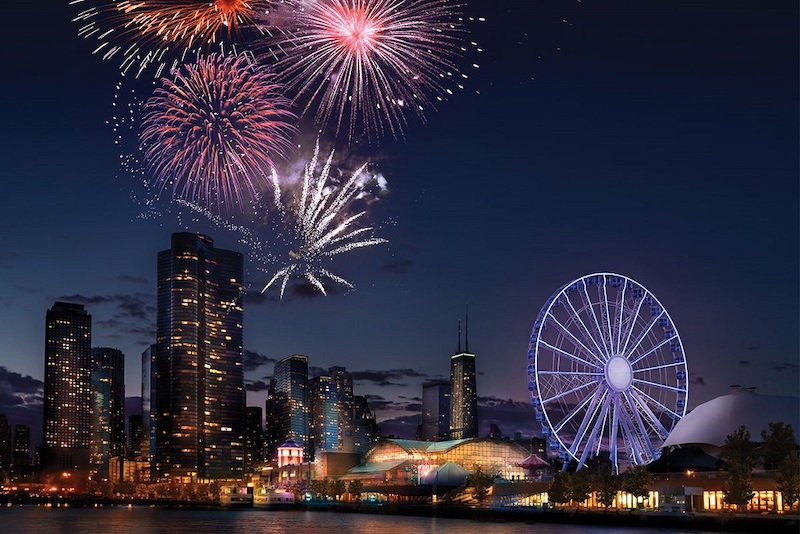 Ano Novo no Navy Pier em Chicago