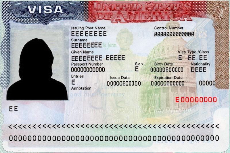 Modelo de visto de entrada para Chicago e Estados Unidos