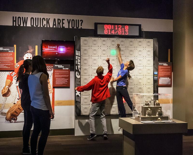 Atividade interativa no Chicago Sports Museum