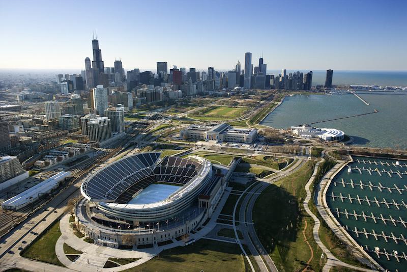 Área do estádio Soldier Field em Chicago
