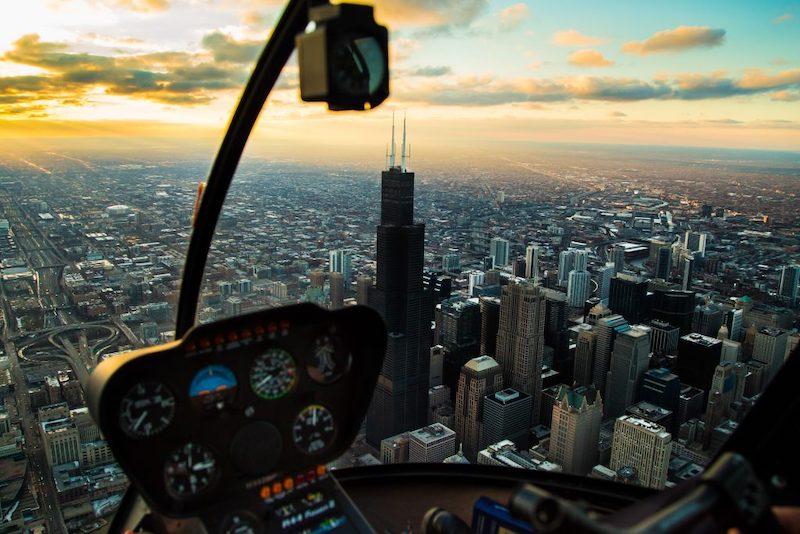 Cabine do helicóptero em Chicago