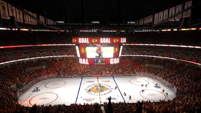 Hóquei no gelo na arena United Center em Chicago