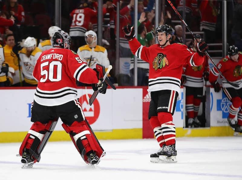 Partida de hockey no gelo do Chicago Blackhawks