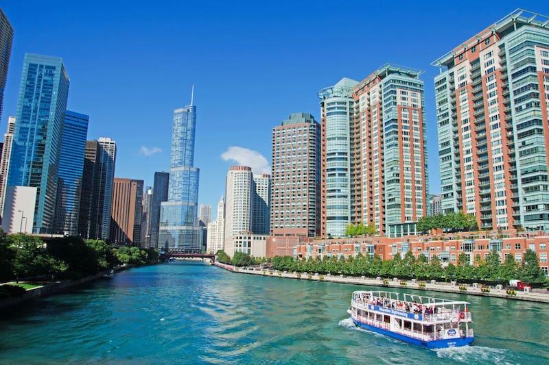 Vista do passeio de barco por Chicago