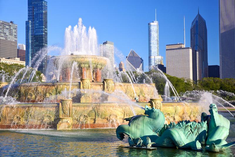 Esculturas da Buckingham Fountain em Chicago