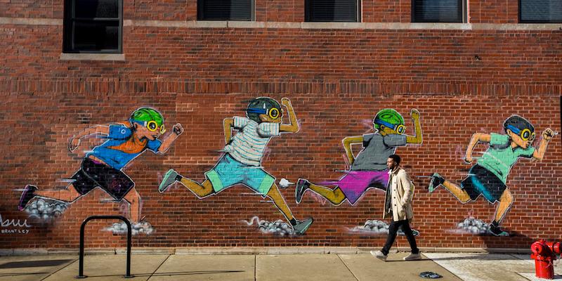 Mural no Randolph Row em Chicago