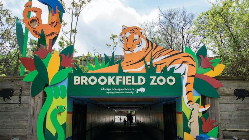 Entrada do Zoológico Brookfield perto de Chicago