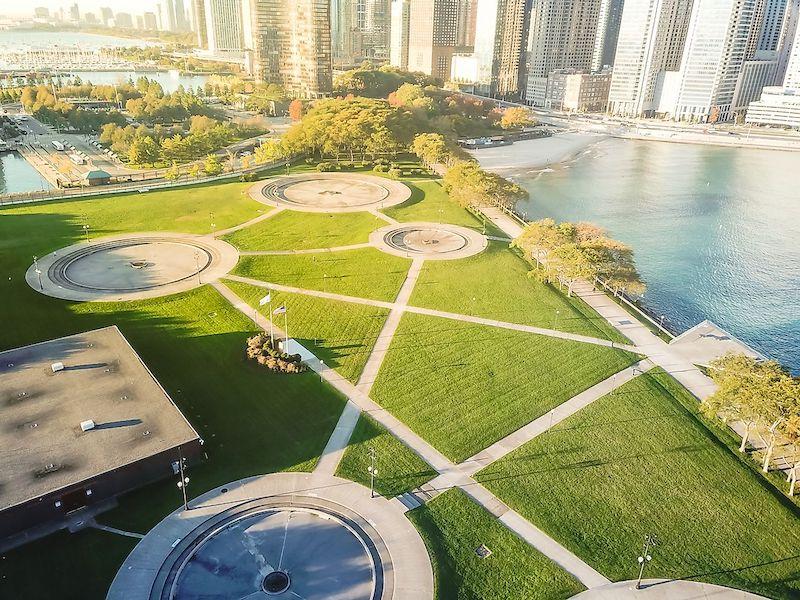 Área das fontes no Milton Lee Olive Park em Chicago