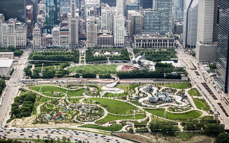 Área do Maggie Daley Park em Chicago