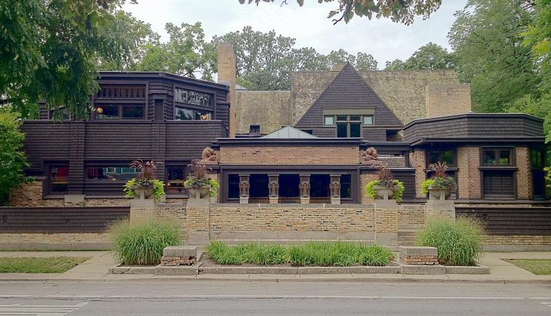 Fachada da Casa e Studio de Frank Lloyd Wright em Chicago
