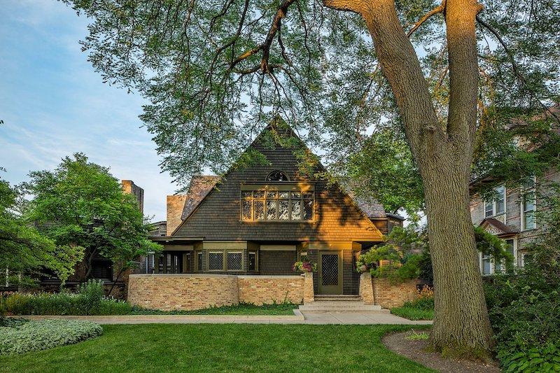 Lateral da Casa e Studio de Frank Lloyd Wright em Chicago