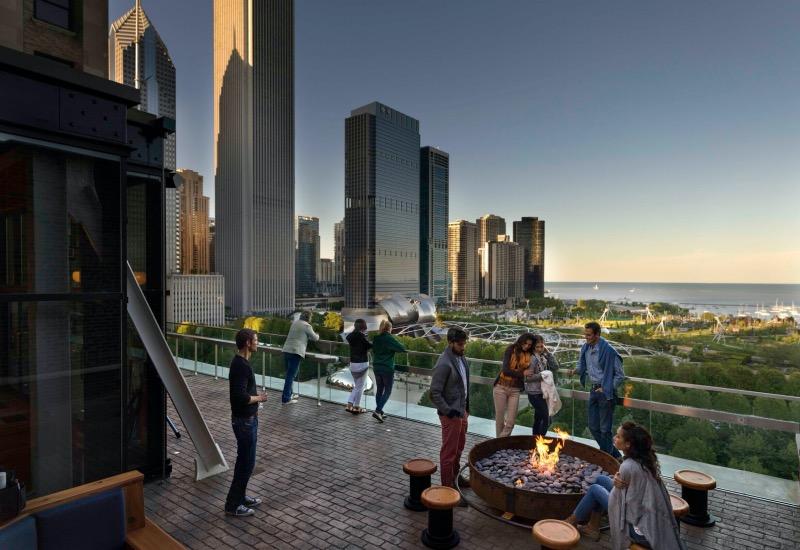 Vista do Cindy's Rooftop em Chicago