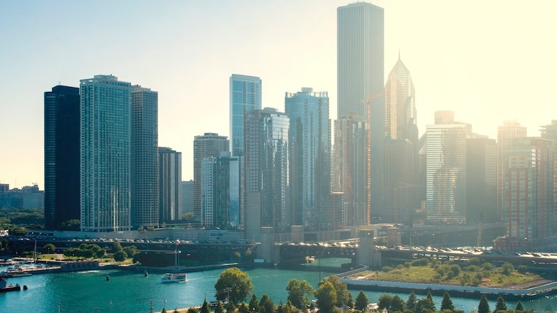 Vista dos edifícios na cidade de Chicago